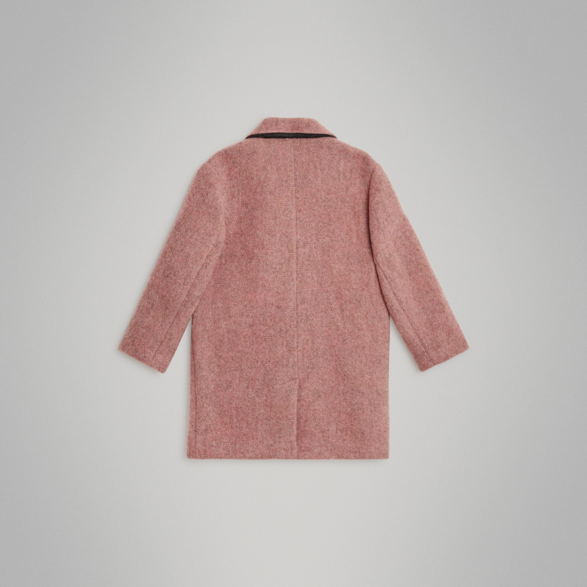 Wool Alpaca Blend Tailored Coat in Rose Pink Melange | Burberry - gallery image 3