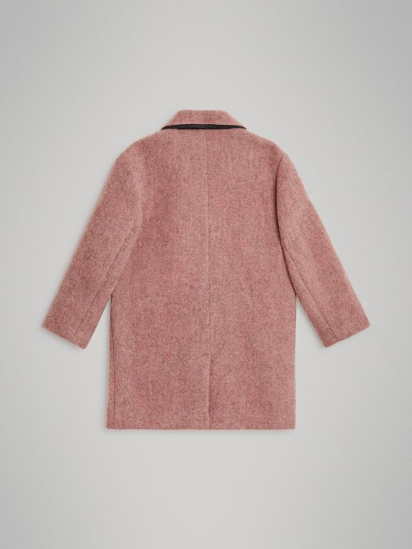 Wool Alpaca Blend Tailored Coat in Rose Pink Melange | Burberry United States - cell image 3