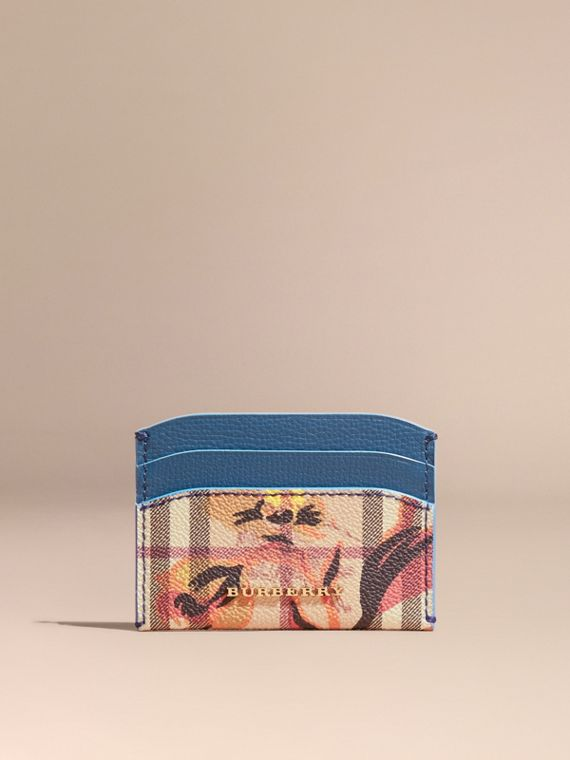 Peony Rose Print Haymarket Check and Leather Card Case in Mineral Blue/vibrant Orange - cell image 2