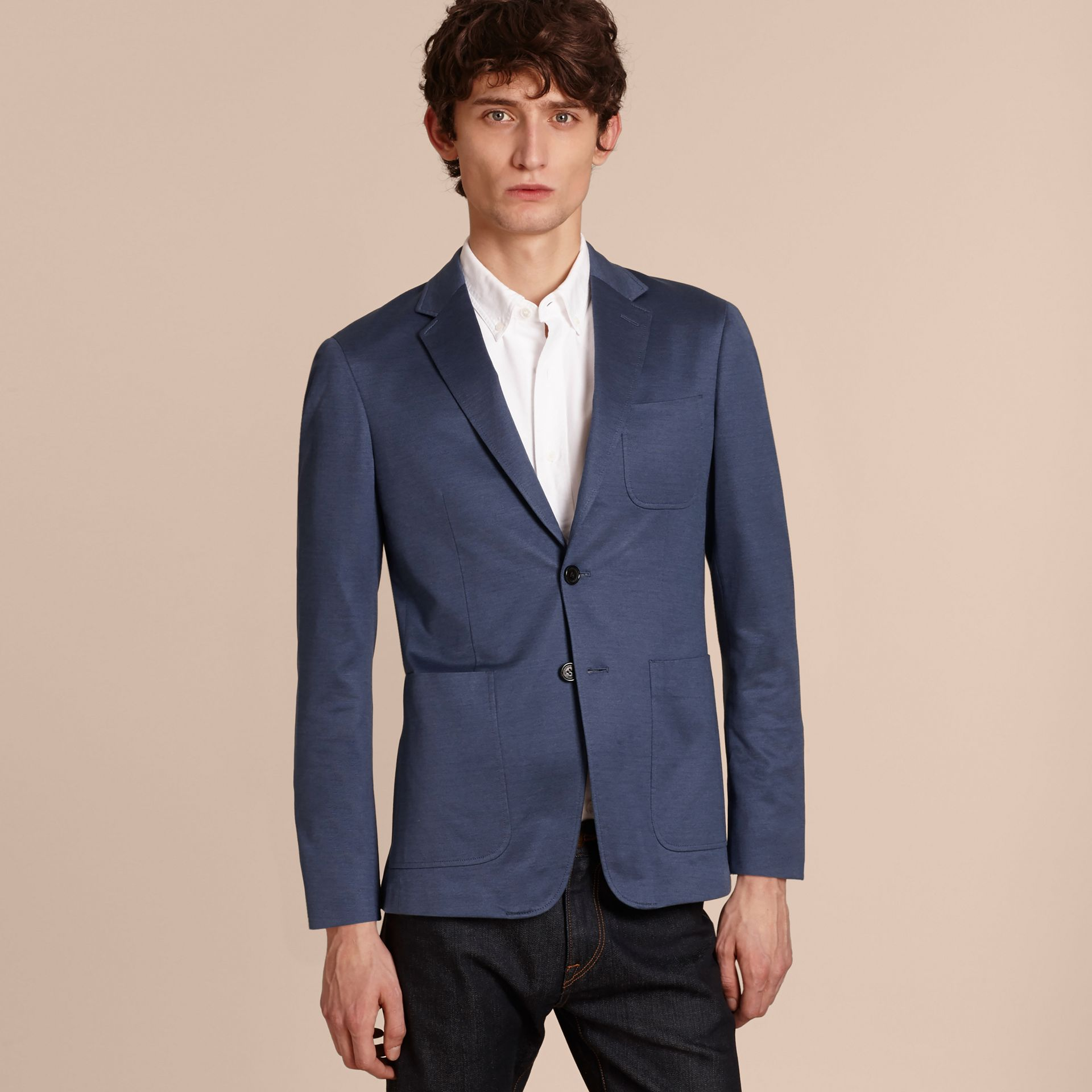 Mineral blue Slim Fit Tailored Cotton Jacket Mineral Blue - gallery image 6