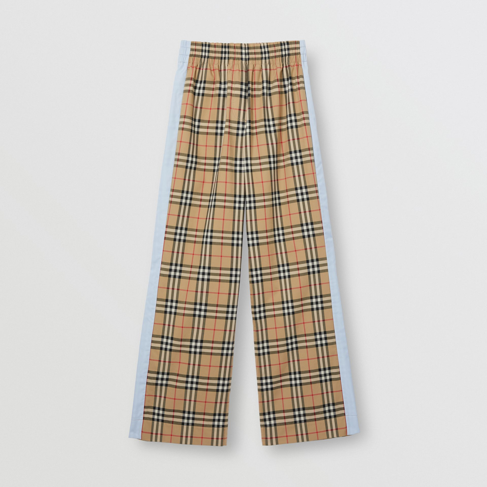 Vintage Check Stretch Cotton Trousers in Archive Beige - Women | Burberry - gallery image 3