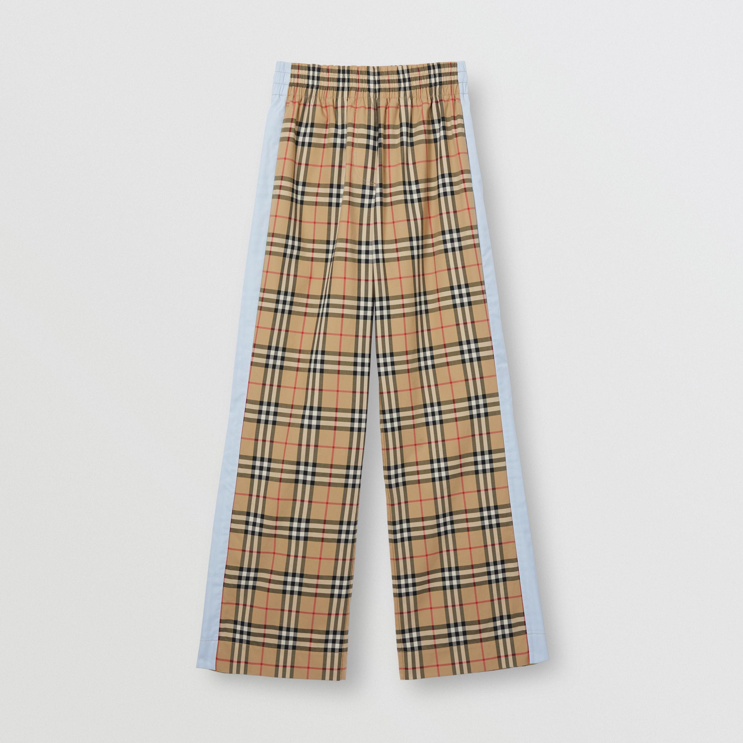Vintage Check Stretch Cotton Trousers in Archive Beige - Women | Burberry - 4
