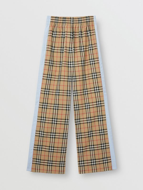 Vintage Check Stretch Cotton Trousers in Archive Beige - Women | Burberry - cell image 3