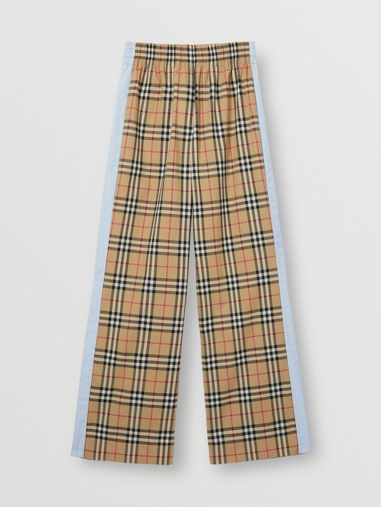 Pantalon en coton stretch Vintage check in Beige D'archive
