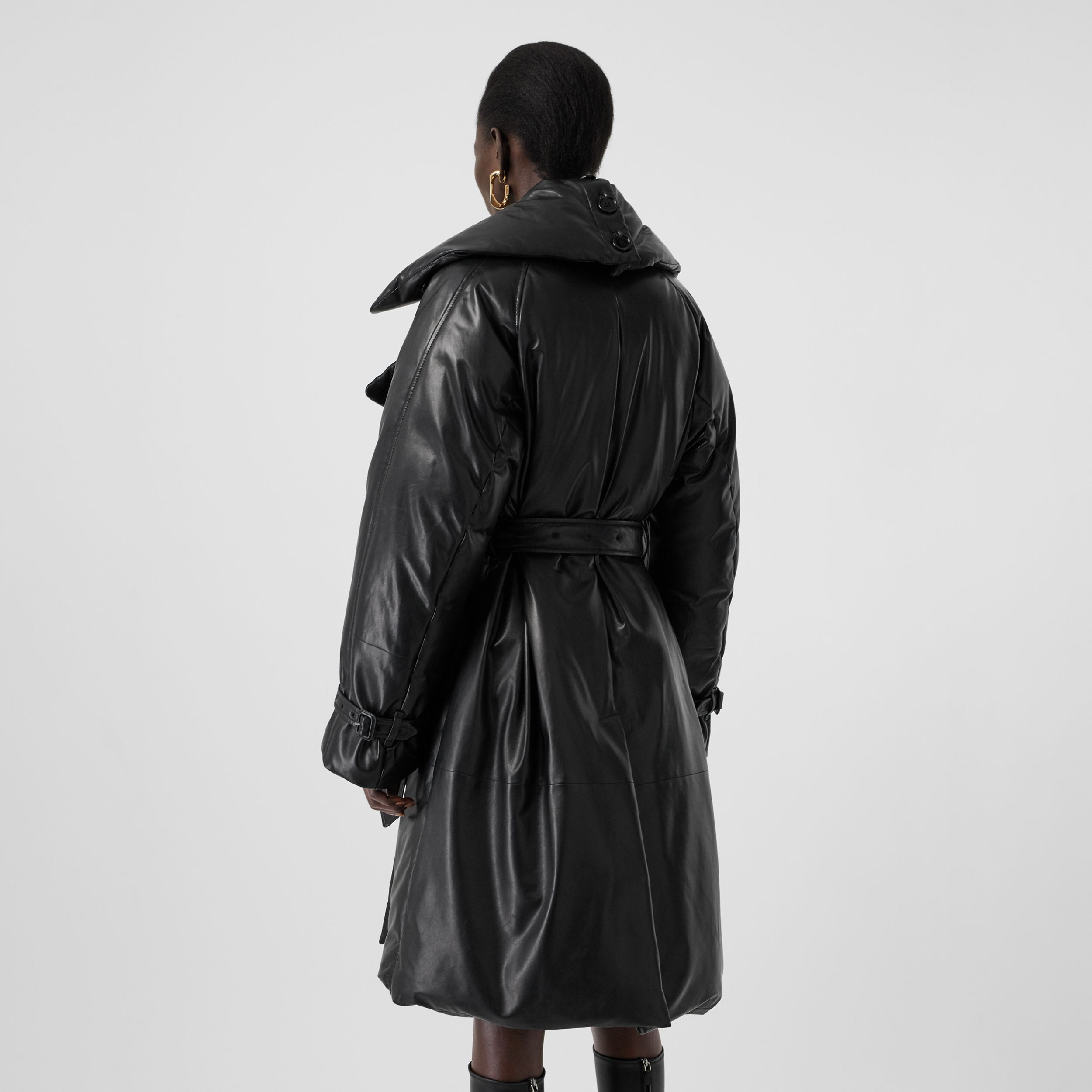 Lambskin Down-filled Oversized Trench Coat in Black - Women | Burberry - 3