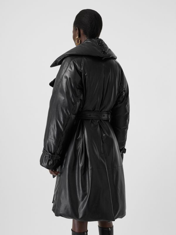 Lambskin Down-filled Oversized Trench Coat in Black - Women | Burberry - cell image 2