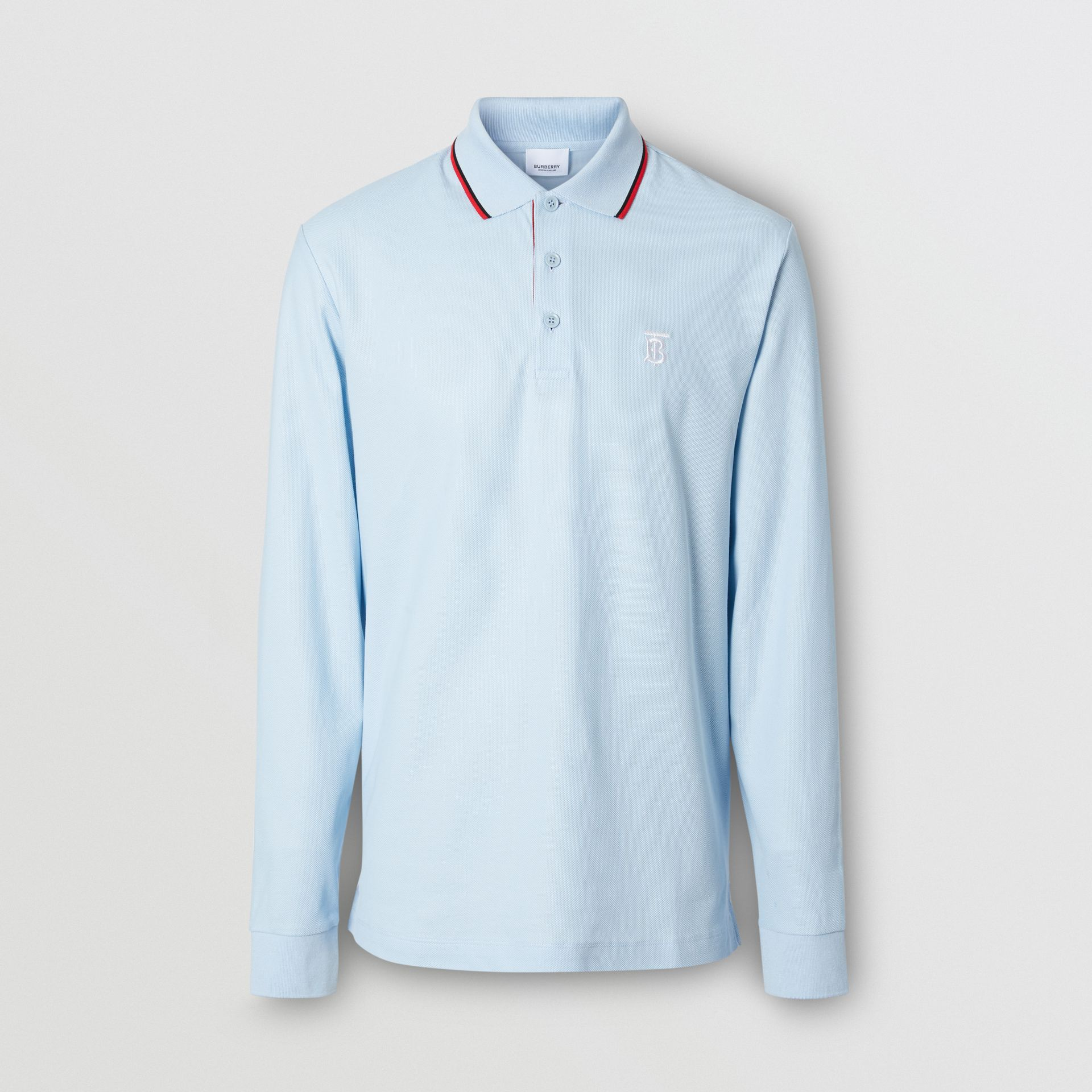 Long-sleeve Monogram Motif Cotton Piqué Polo Shirt in Pale Blue - Men | Burberry - gallery image 0