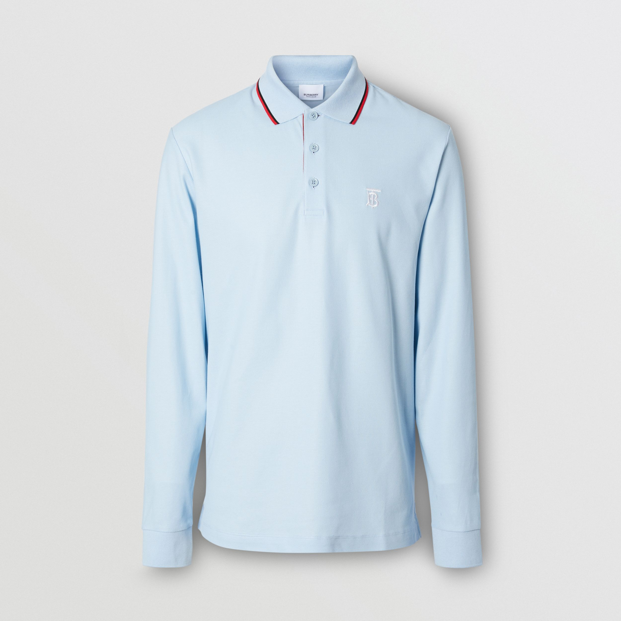 Long-sleeve Monogram Motif Cotton Piqué Polo Shirt in Pale Blue - Men | Burberry Hong Kong S.A.R. - 1