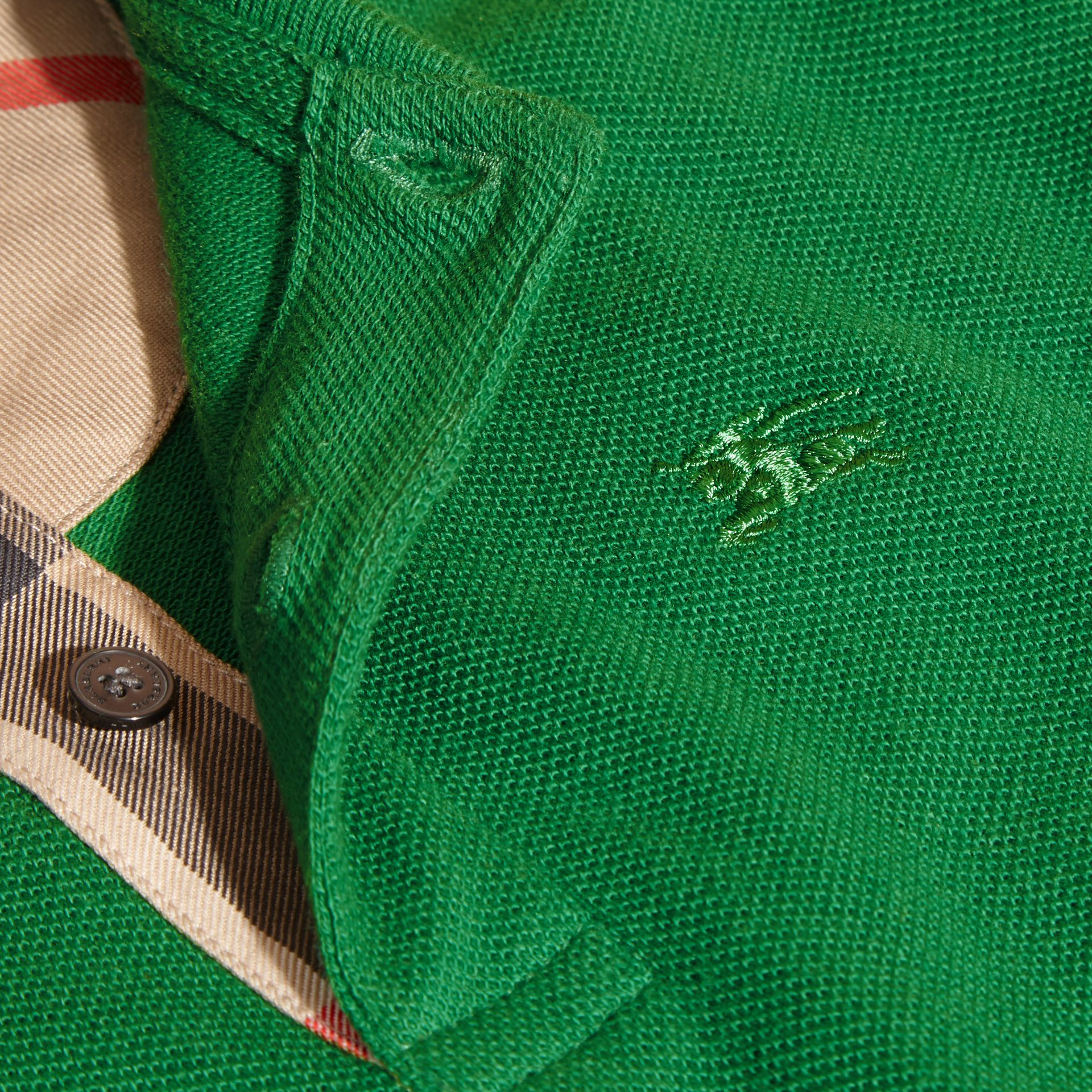 Check Placket Polo Shirt in Bright Pigment Green - gallery image 2