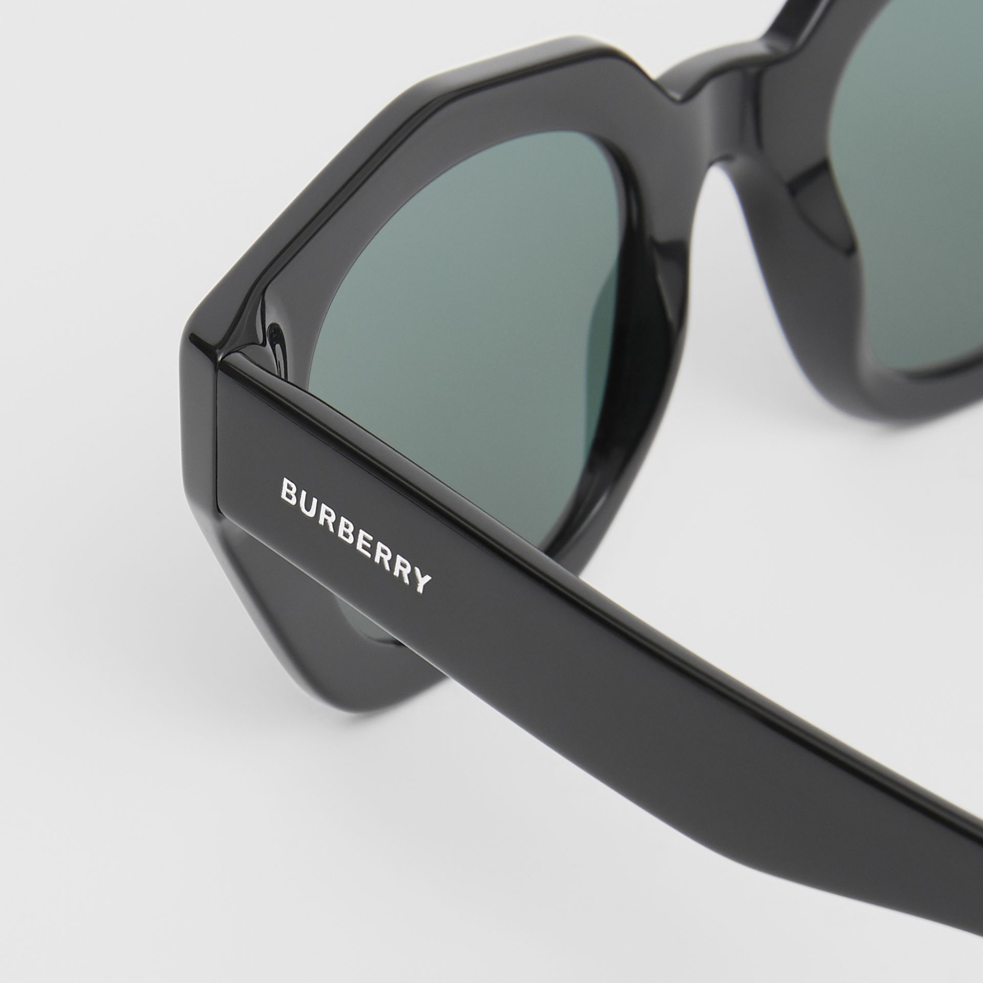 Geometric Frame Sunglasses in Black - Women | Burberry - gallery image 1