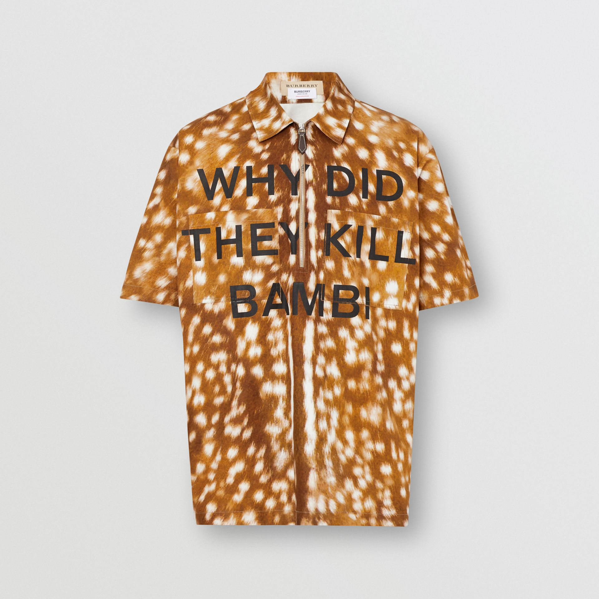 Short-sleeve Slogan Deer Print Cotton Shirt in Honey | Burberry - gallery image 3