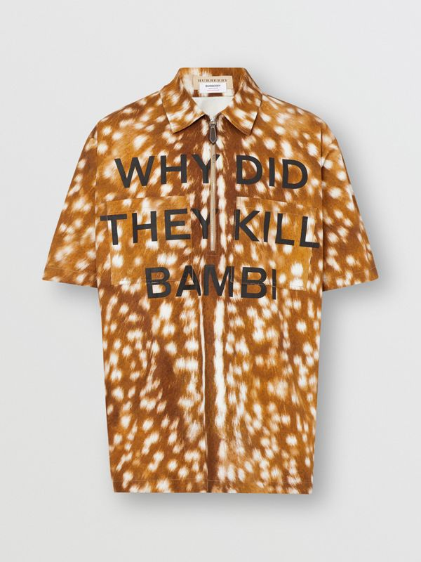 Short-sleeve Slogan Deer Print Cotton Shirt in Honey | Burberry United Kingdom - cell image 3