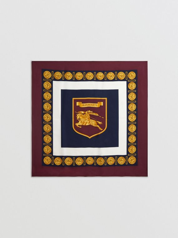Archive Scarf Print Silk Square Scarf in Burgundy