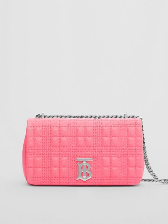Small Quilted Grainy Leather Lola Bag in Candy Floss
