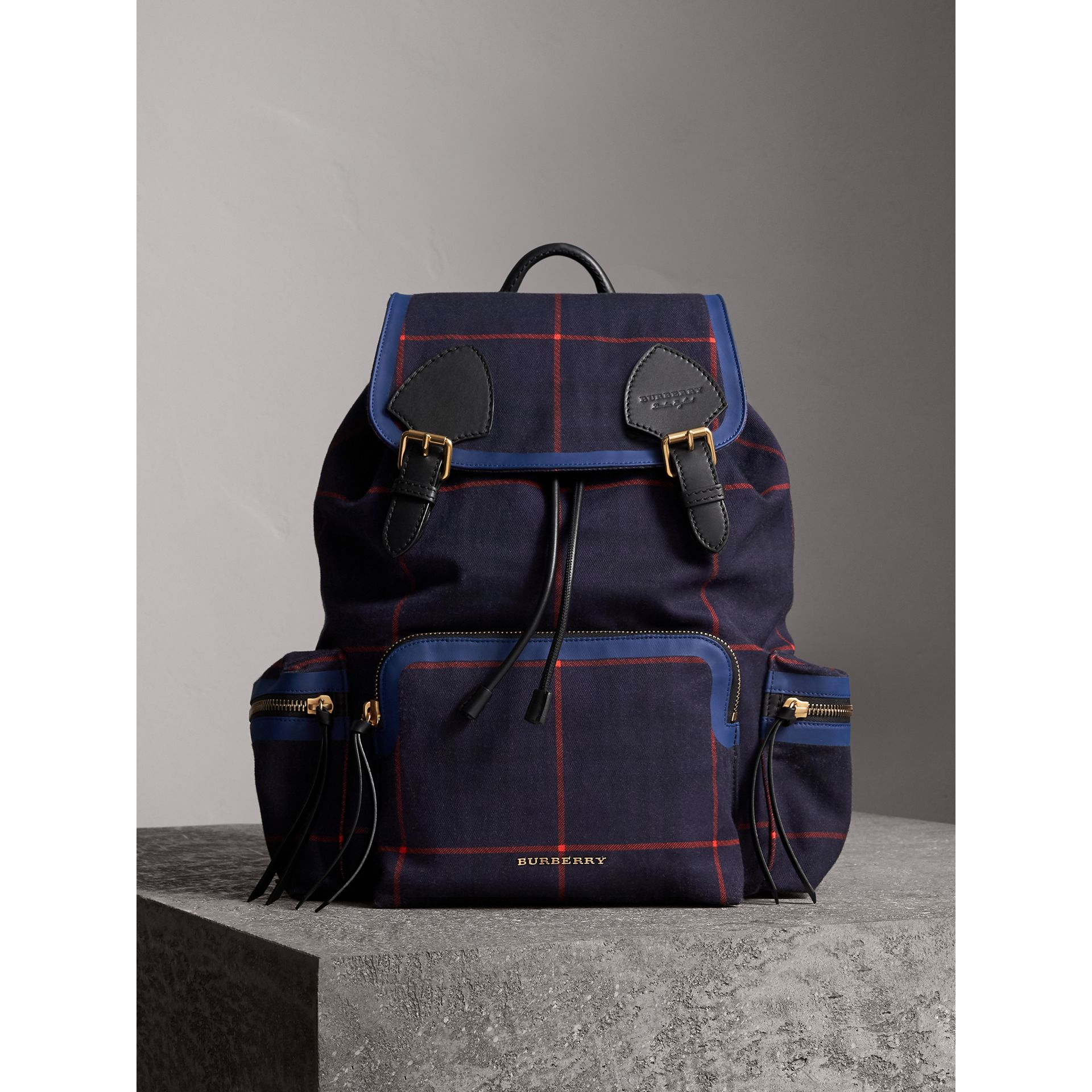 The Large Rucksack in Tartan Cotton in Deep Navy | Burberry - gallery image 6