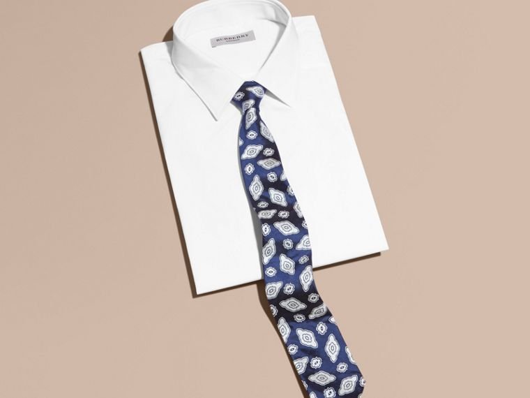 Brilliant blue Modern Cut Silk Geometric Jacquard Tie Brilliant Blue - cell image 2