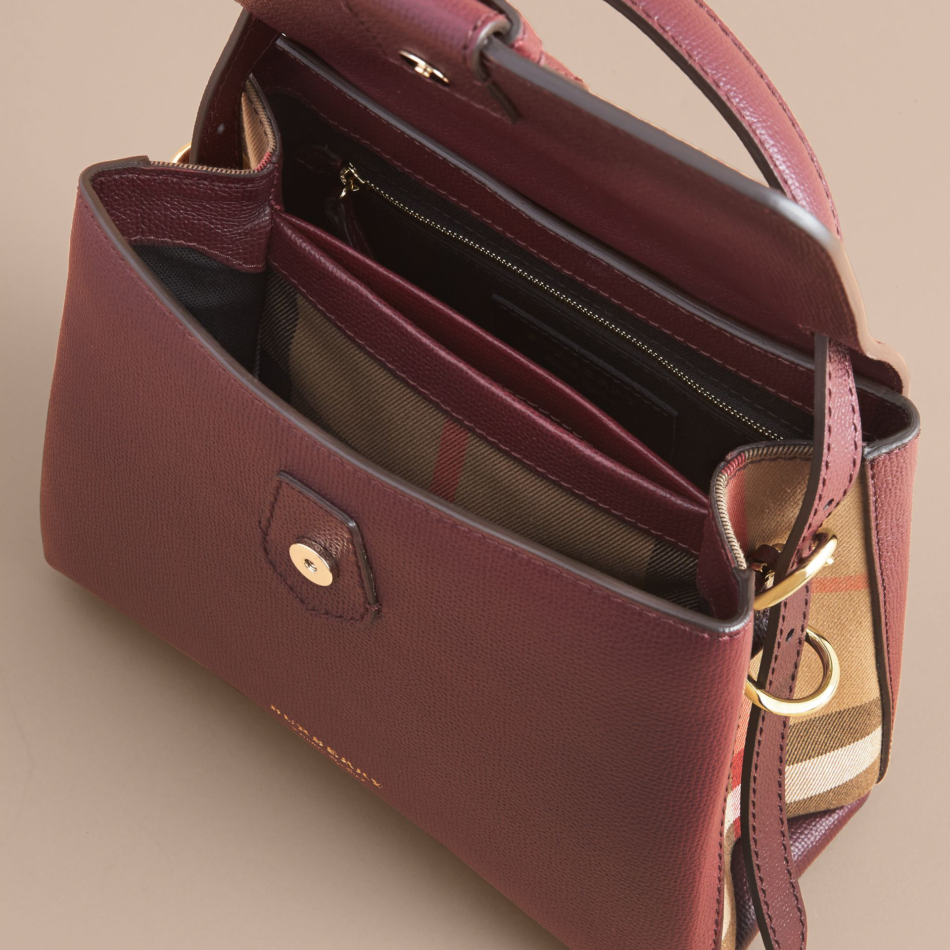 Small Grainy Leather and House Check Tote Bag in Mahogany Red - Women | Burberry - gallery image 6