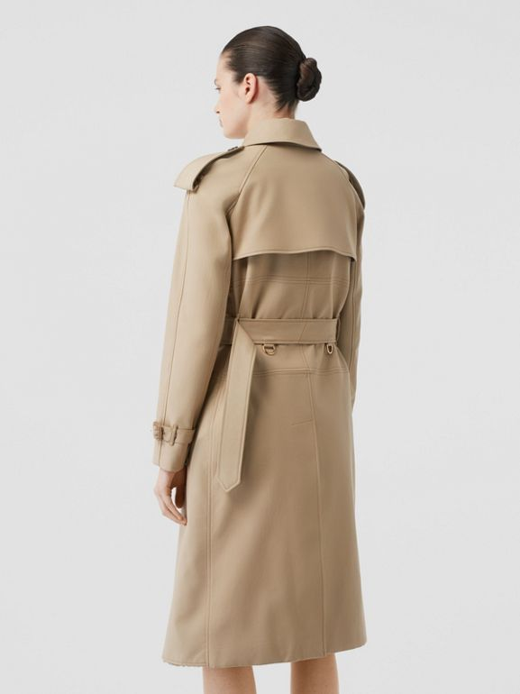 Deconstructed Cotton and Shearling Trench Coat in Honey - Women | Burberry Singapore - cell image 1