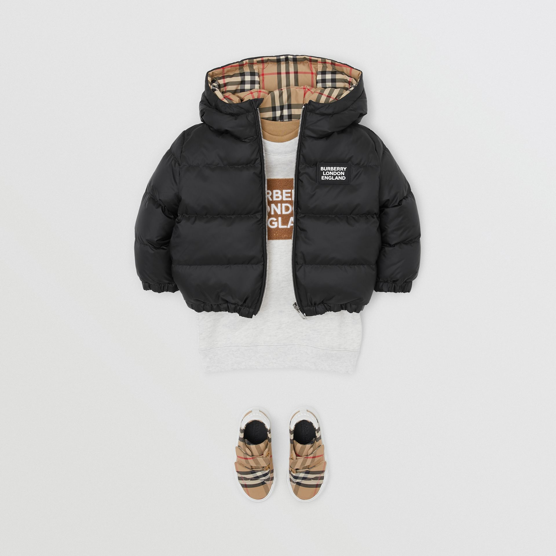 Reversible Vintage Check Down-filled Puffer Jacket in Black - Children | Burberry Singapore - gallery image 2