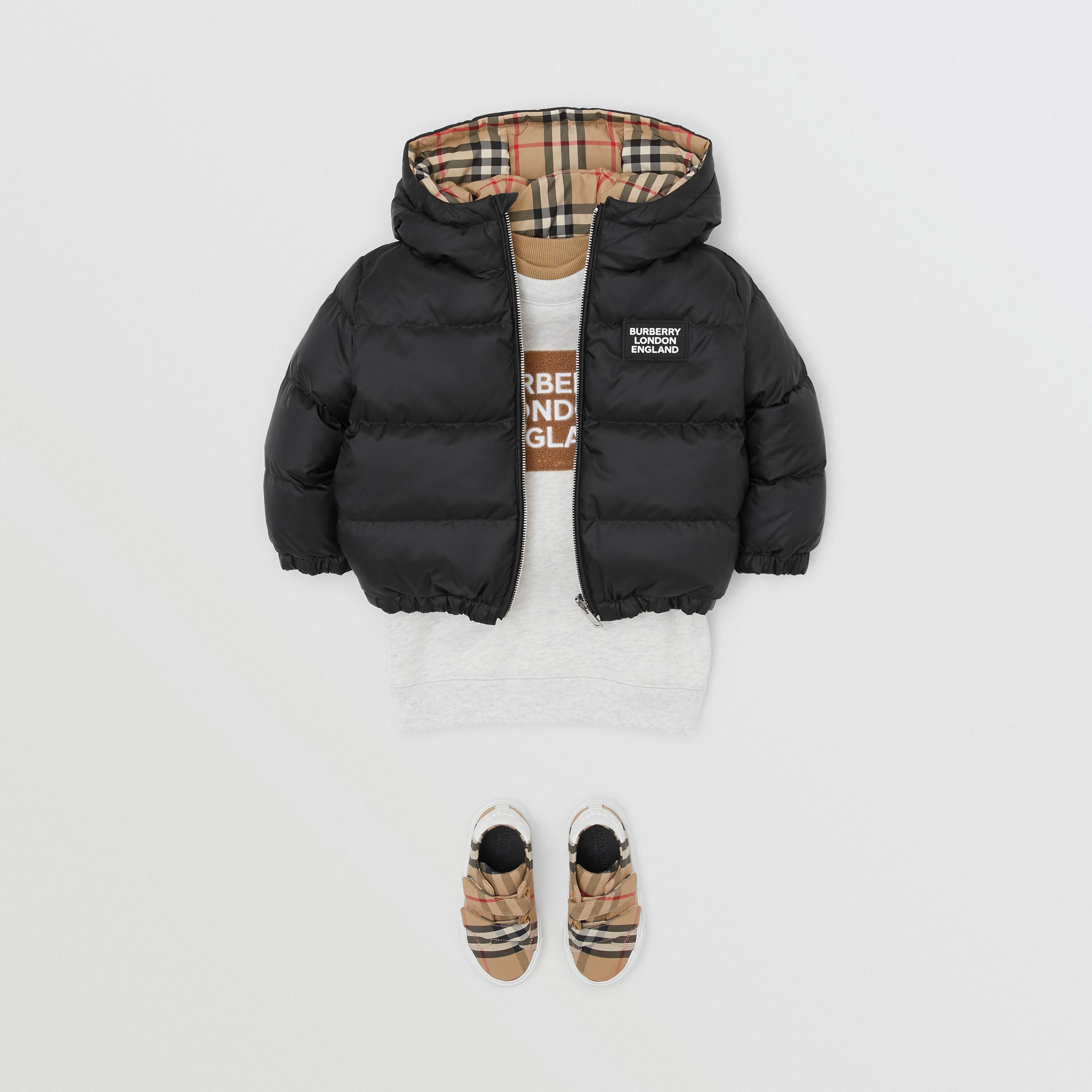 Reversible Vintage Check Down-filled Puffer Jacket in Black - Children | Burberry Hong Kong S.A.R. - 3