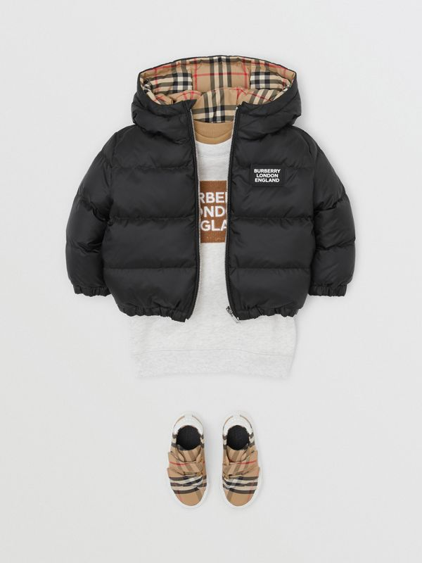 Reversible Vintage Check Down-filled Puffer Jacket in Black - Children | Burberry - cell image 2