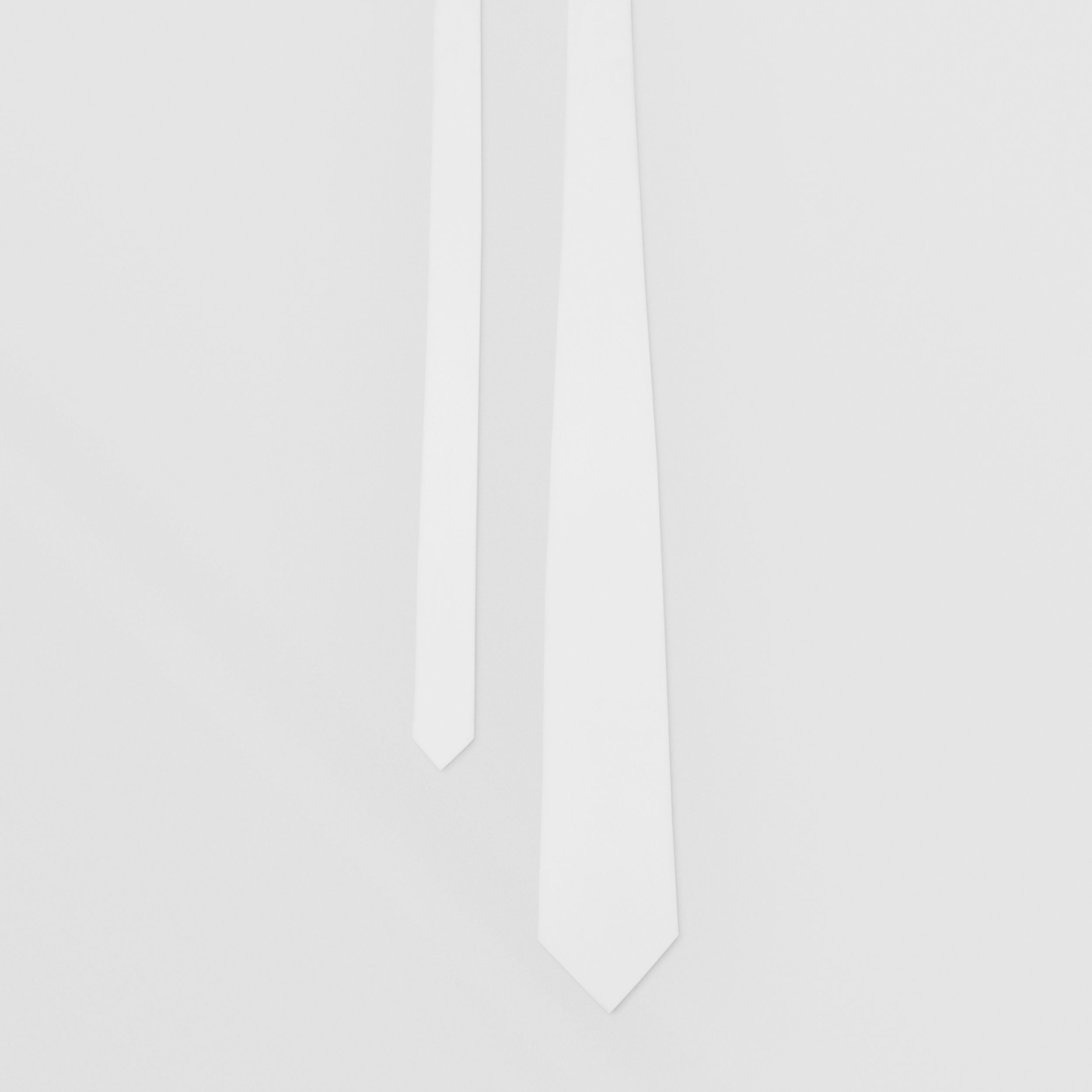 Classic Cut Cotton Tie in Optic White - Men | Burberry - 1