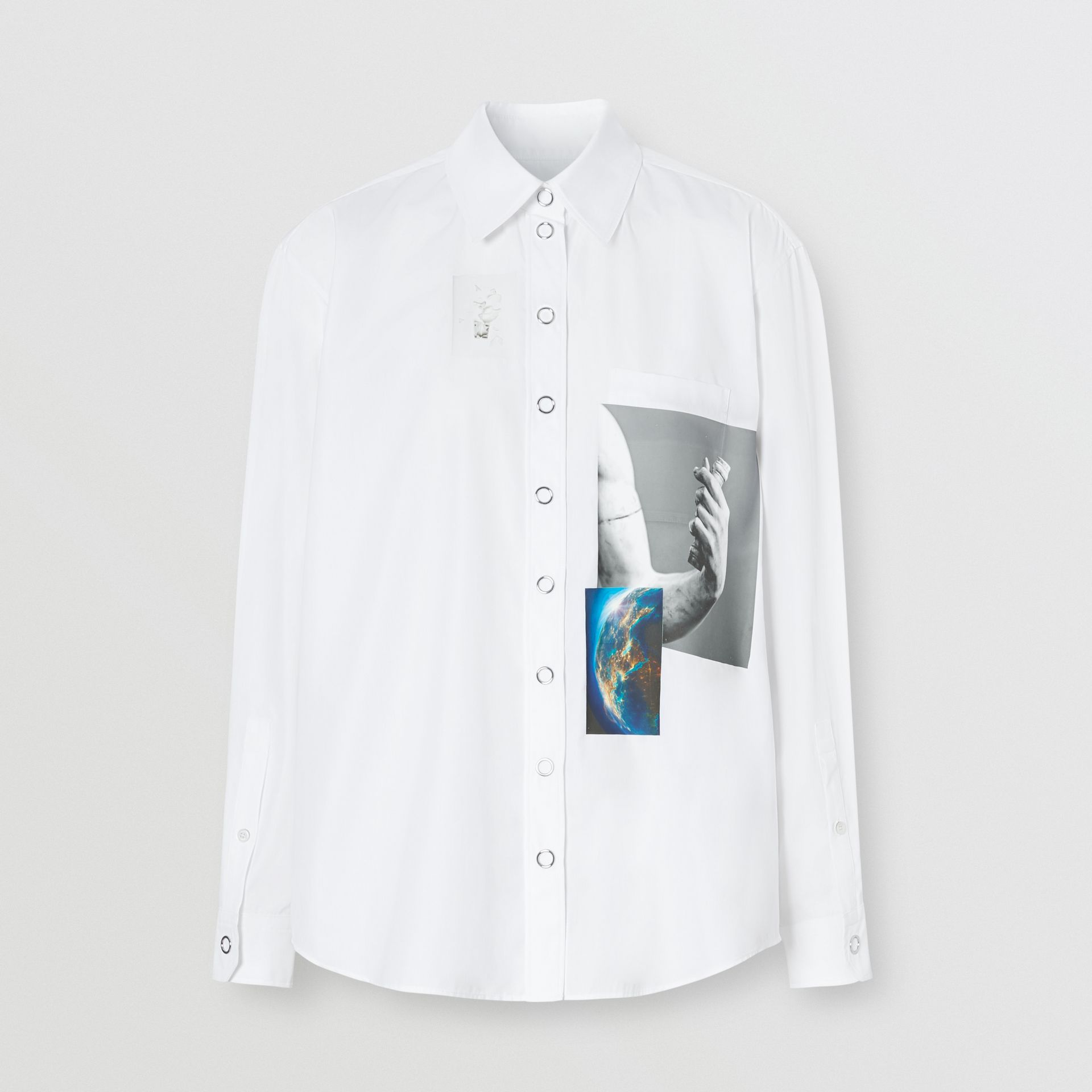 Press-stud Montage Print Cotton Shirt in White - Women | Burberry Hong Kong S.A.R - gallery image 3