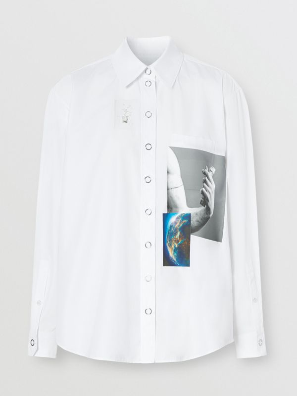 Press-stud Montage Print Cotton Shirt in White - Women | Burberry Hong Kong S.A.R - cell image 3