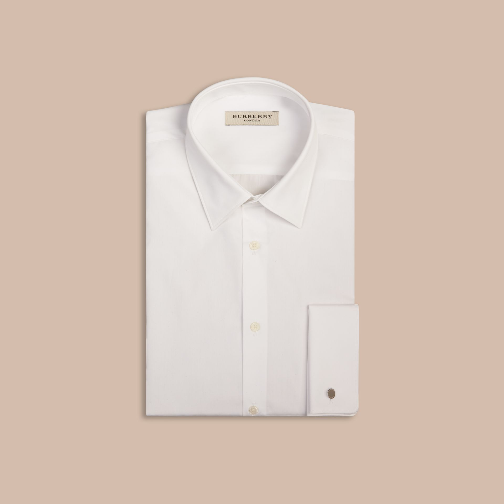 White Slim Fit Double-cuff Cotton Poplin Shirt - gallery image 4