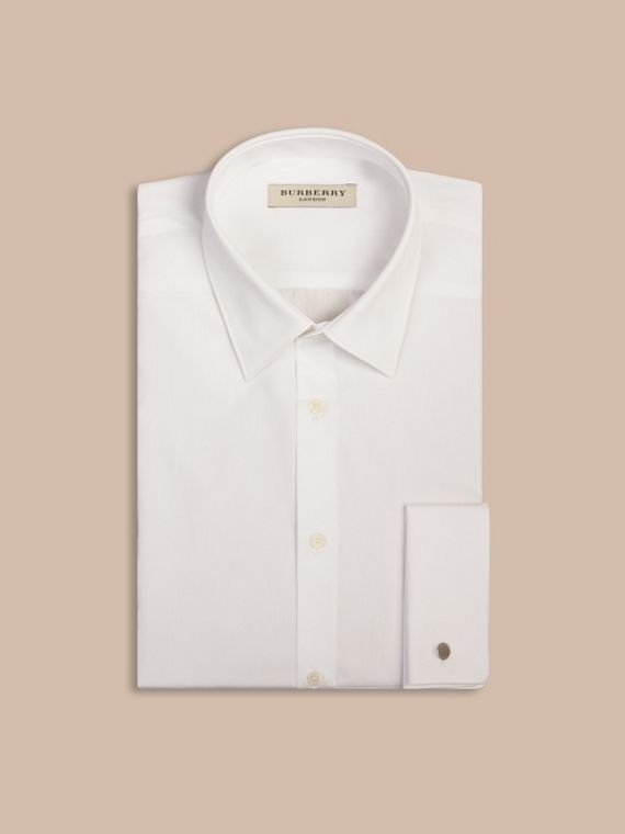 Slim Fit Double-cuff Cotton Poplin Shirt in White