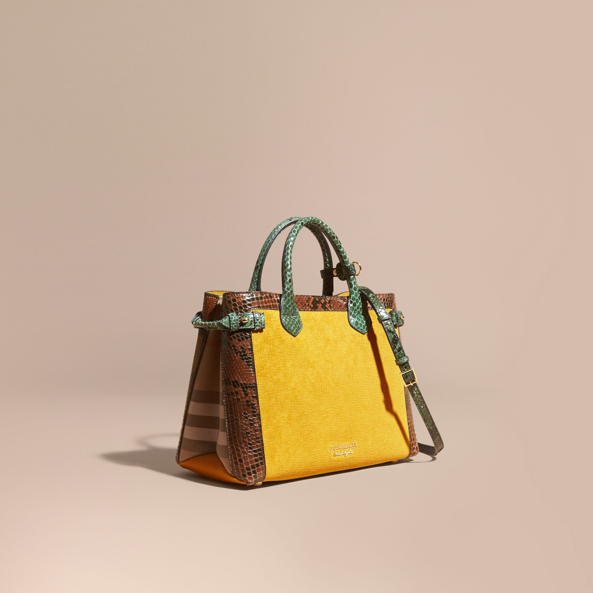 The Medium Banner in Leather, Python and House Check in Larch Yellow - Women | Burberry Australia - gallery image 1