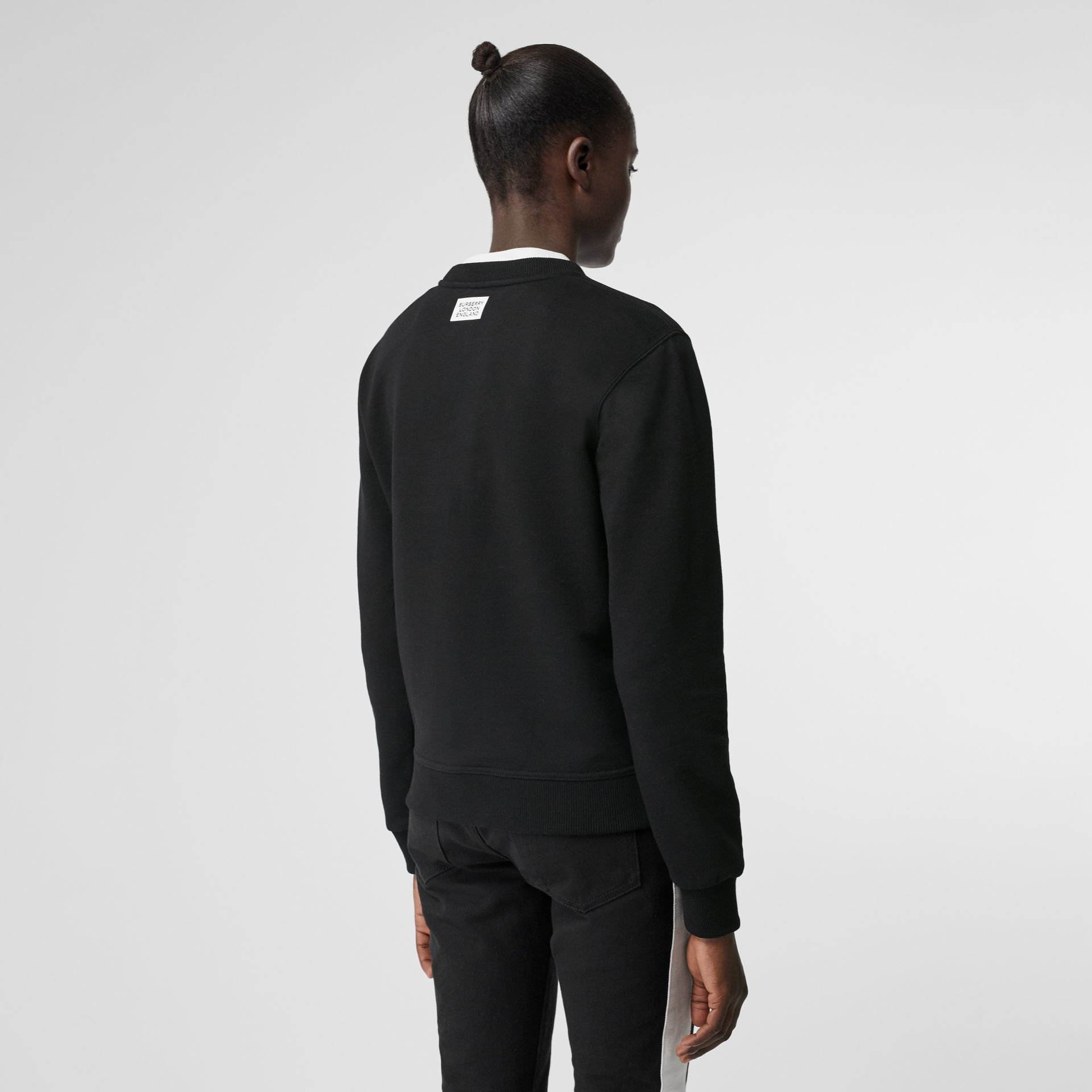 Quote Print Cotton Sweatshirt in Black - Women | Burberry - gallery image 2
