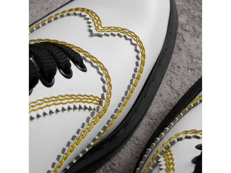 Topstitch Leather Lace-up Shoes in Optic White - Women | Burberry Hong Kong - cell image 1