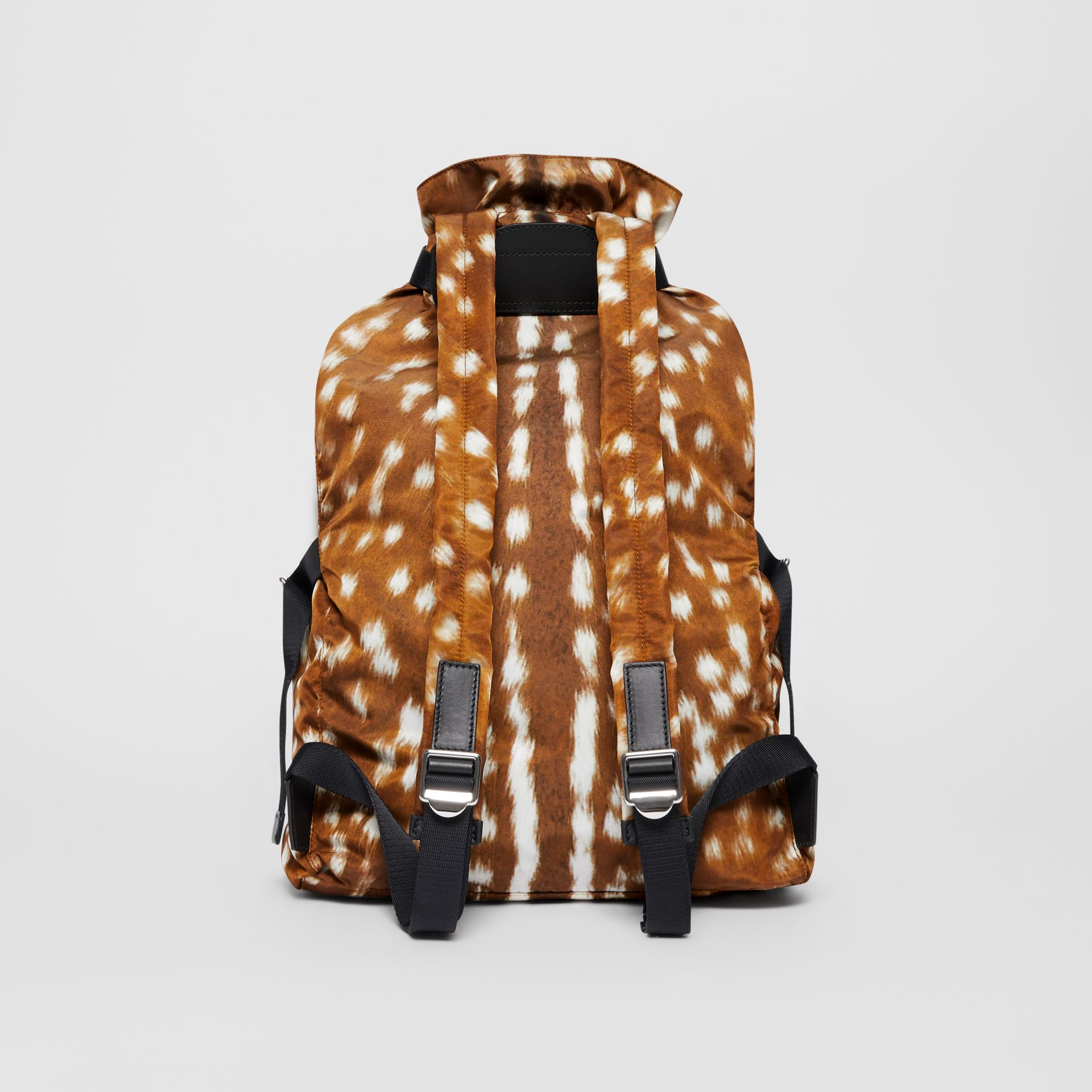 Deer Print Nylon Drawcord Backpack in Tan/white - Men | Burberry - gallery image 7