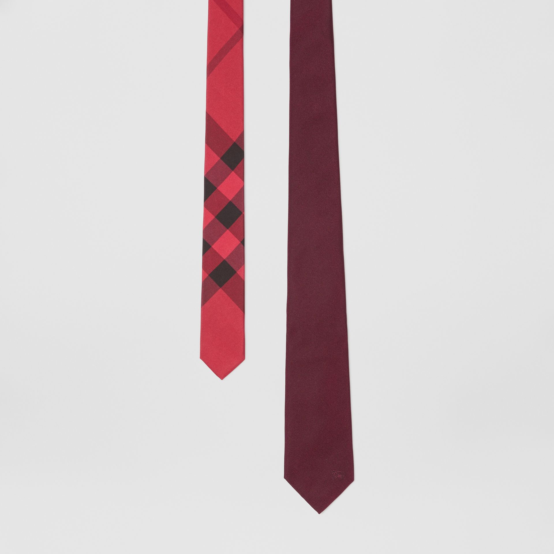 Slim Cut Check Silk Twill Tie in Mahogany Red - Men | Burberry - gallery image 0