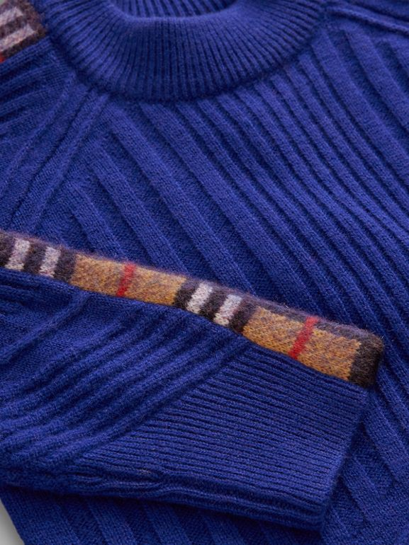 Check Detail Wool Cashmere Sweater in Cobalt Blue | Burberry - cell image 1