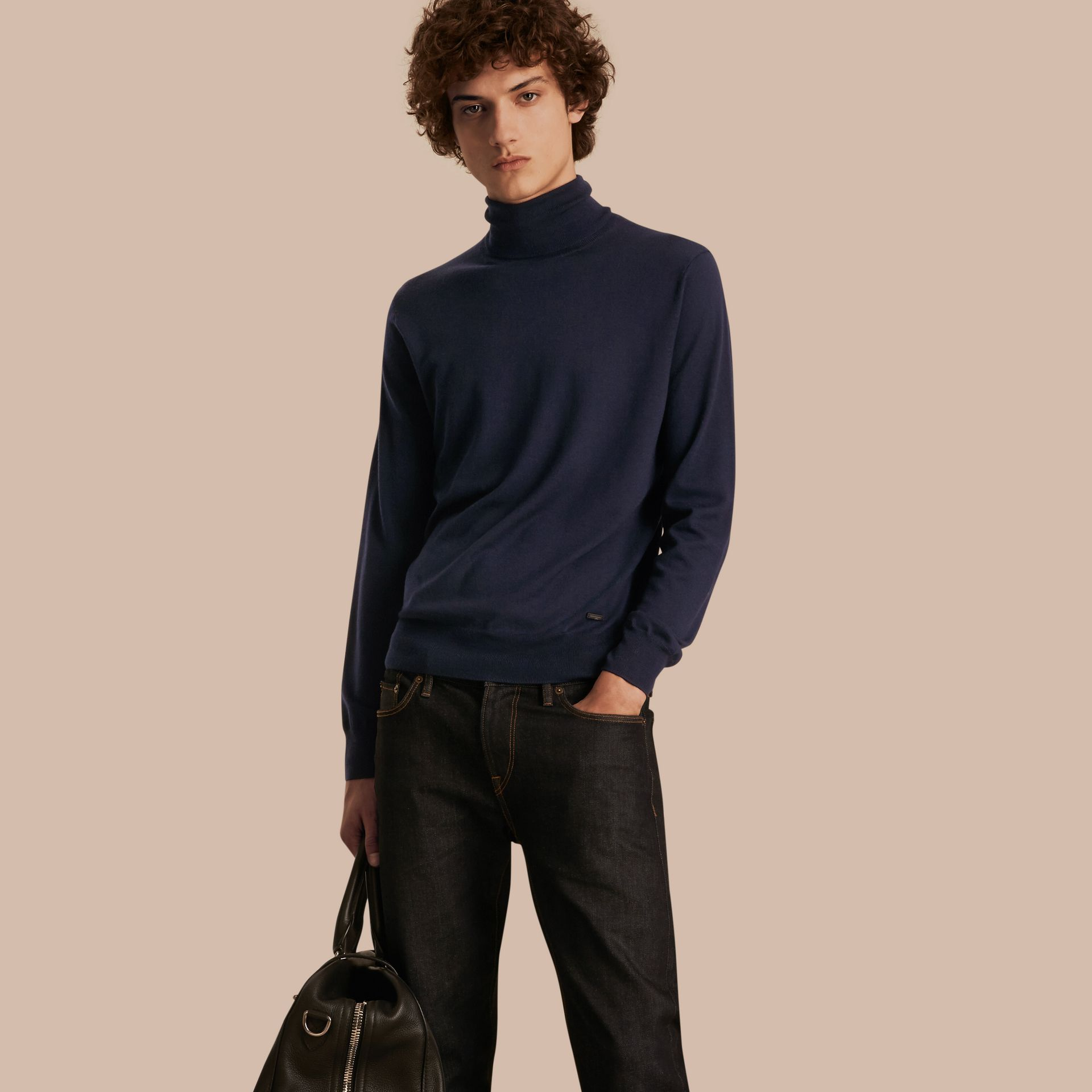 Navy Merino Wool Roll-neck Sweater Navy - gallery image 1