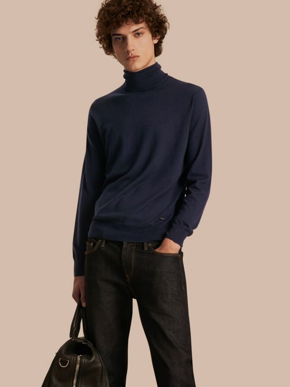 Merino Wool Roll-neck Sweater Navy