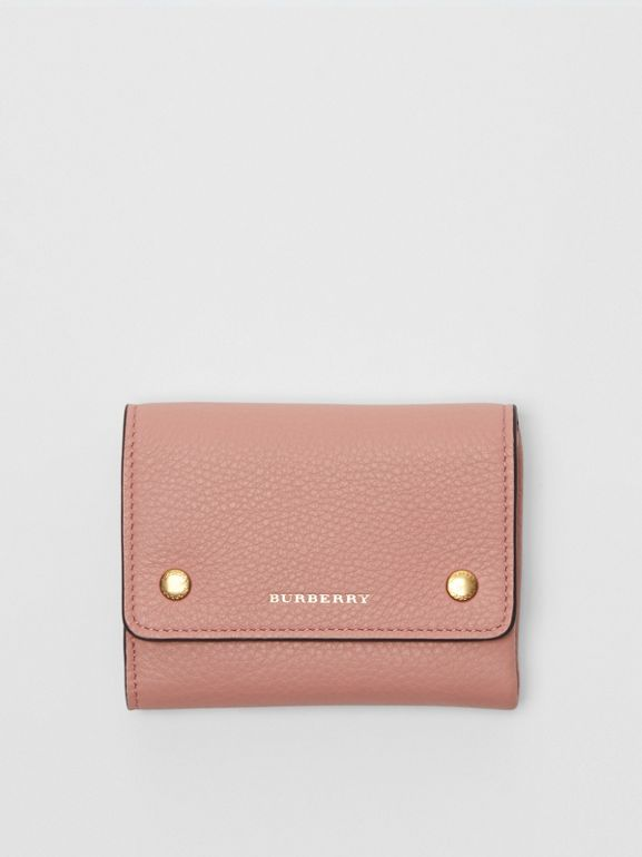 Small Leather Folding Wallet in Ash Rose - Women | Burberry - cell image 1