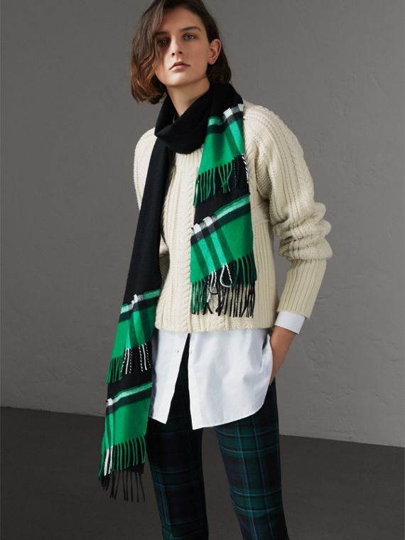 Tartan Panel Detail Cashmere Scarf in Black | Burberry - cell image 2