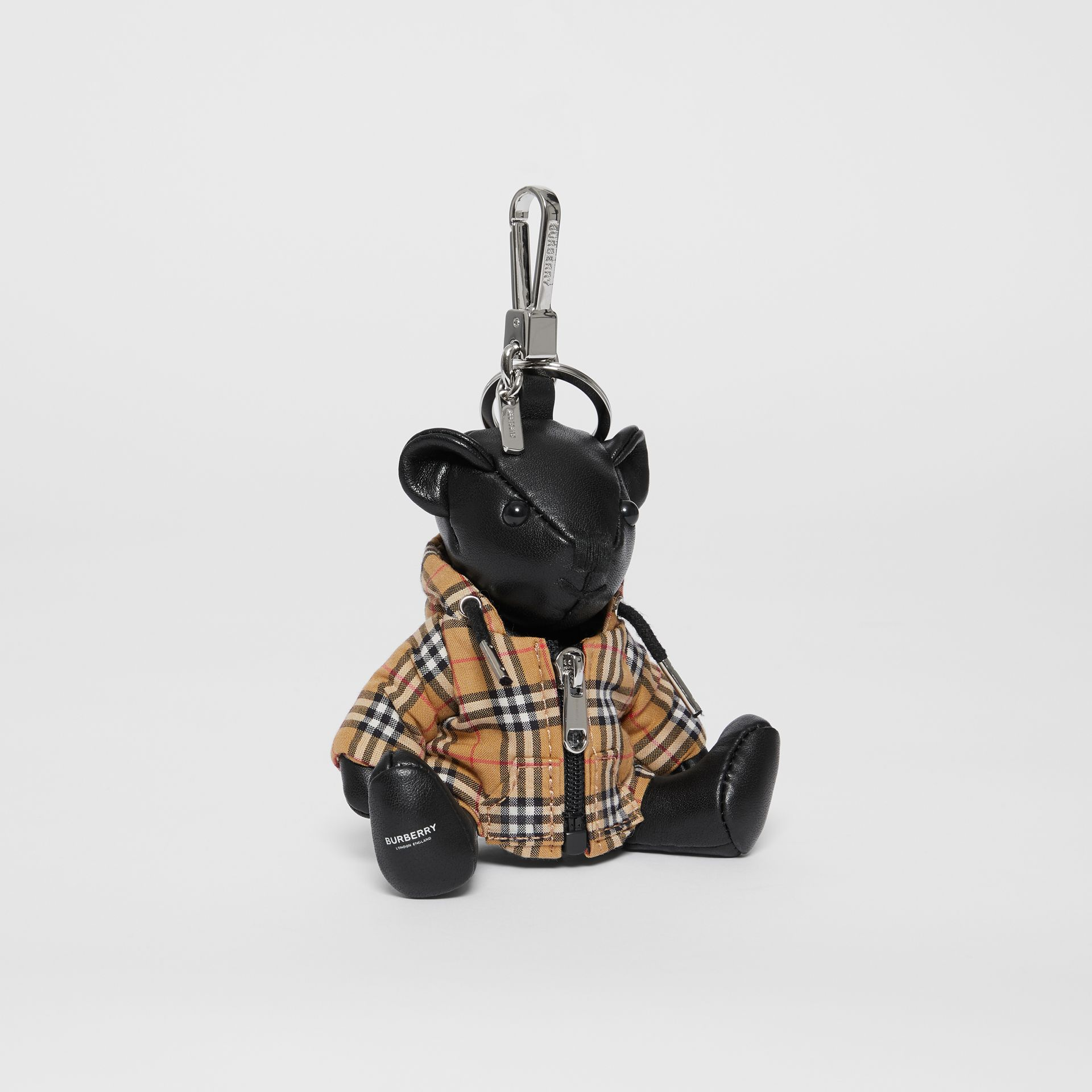 Thomas Bear Charm in Vintage Check Hooded Top in Black/antique Yellow - Women | Burberry Australia - gallery image 0