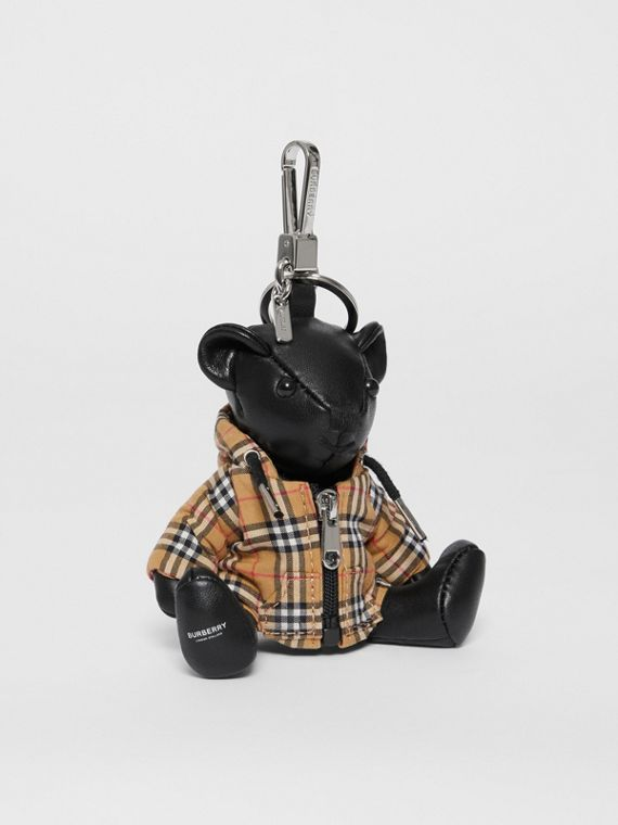 Thomas Bear Charm in Vintage Check Hooded Top in Black/antique Yellow