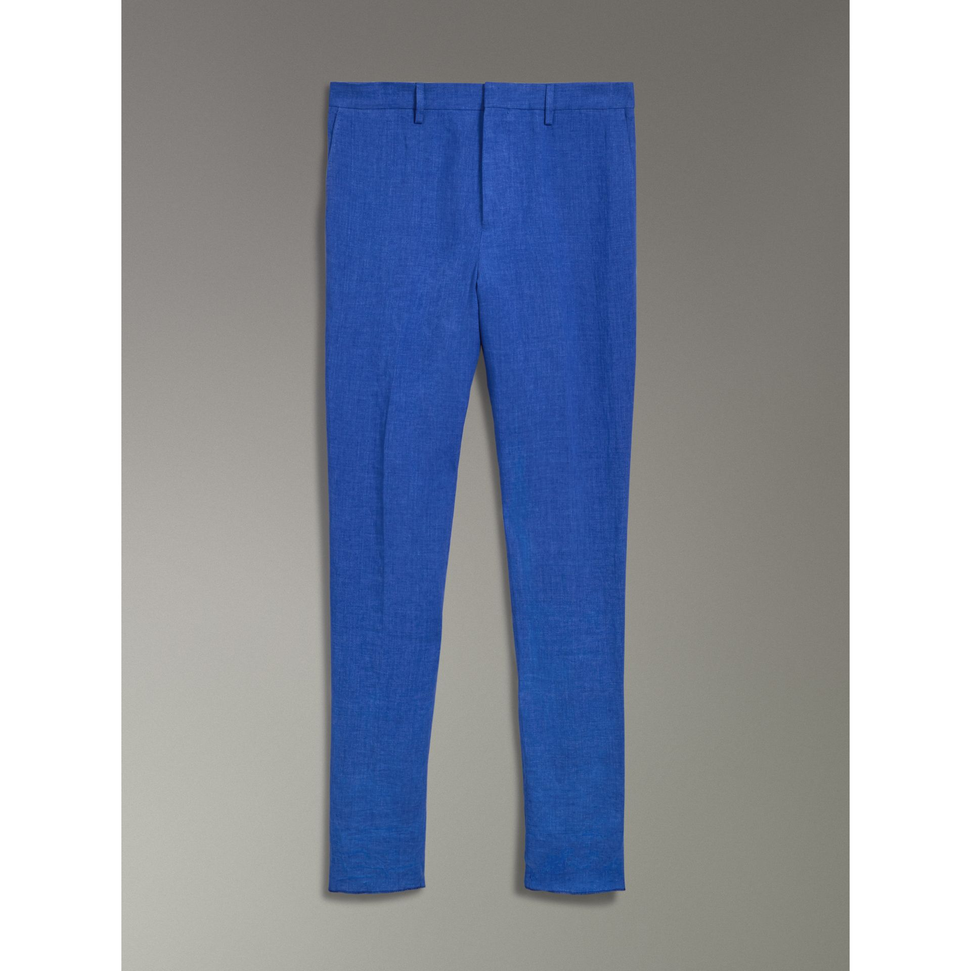 Soho Fit Linen Trousers in Violet Blue - Men | Burberry - gallery image 3