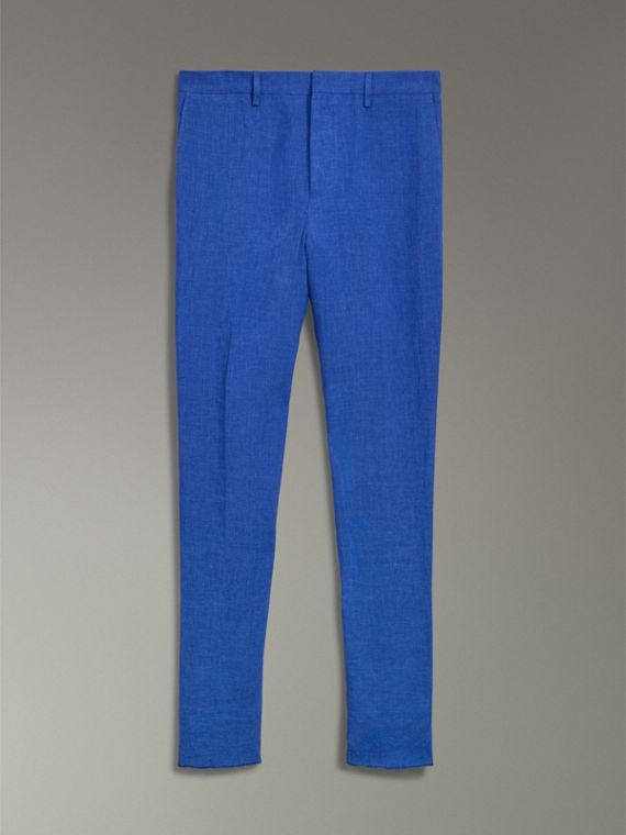 Soho Fit Linen Trousers in Violet Blue - Men | Burberry Australia - cell image 3