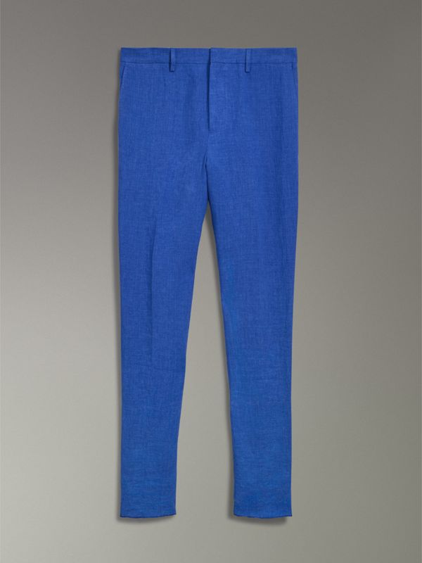 Soho Fit Linen Trousers in Violet Blue - Men | Burberry Canada - cell image 3