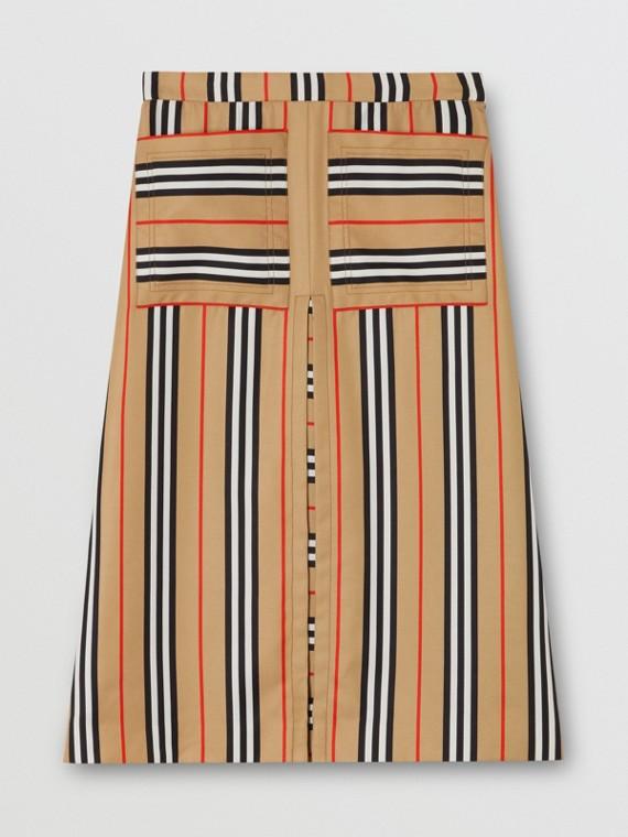 Box Pleat Detail Icon Stripe A-line Skirt in Archive Beige