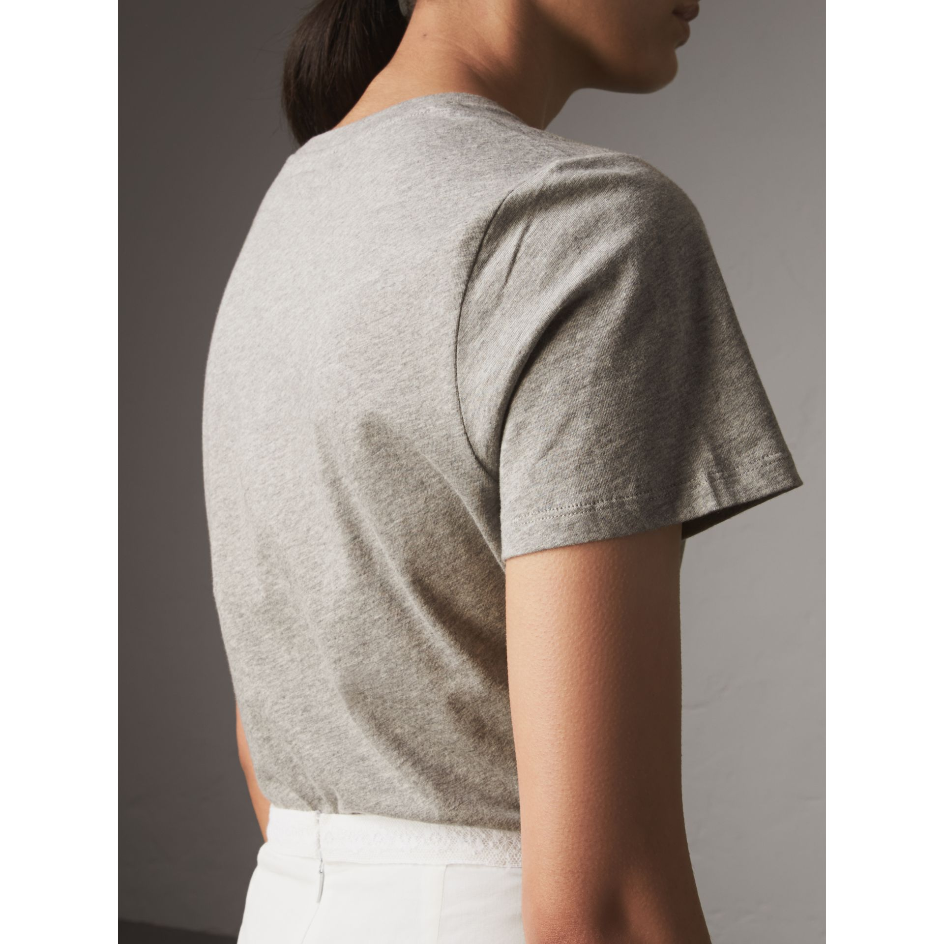 Printed Cotton T-shirt in Pale Grey Melange - Women | Burberry - gallery image 3