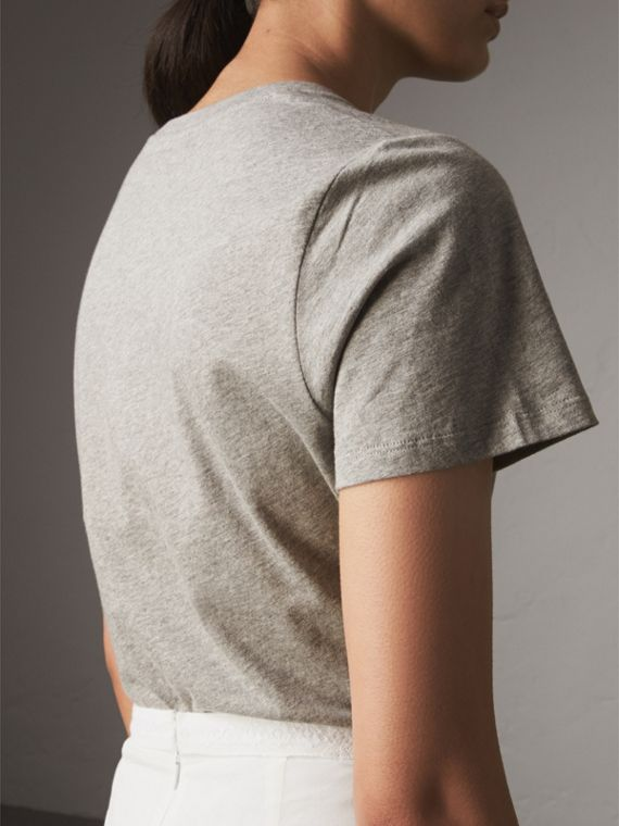 Printed Cotton T-shirt in Pale Grey Melange - Women | Burberry United Kingdom - cell image 2