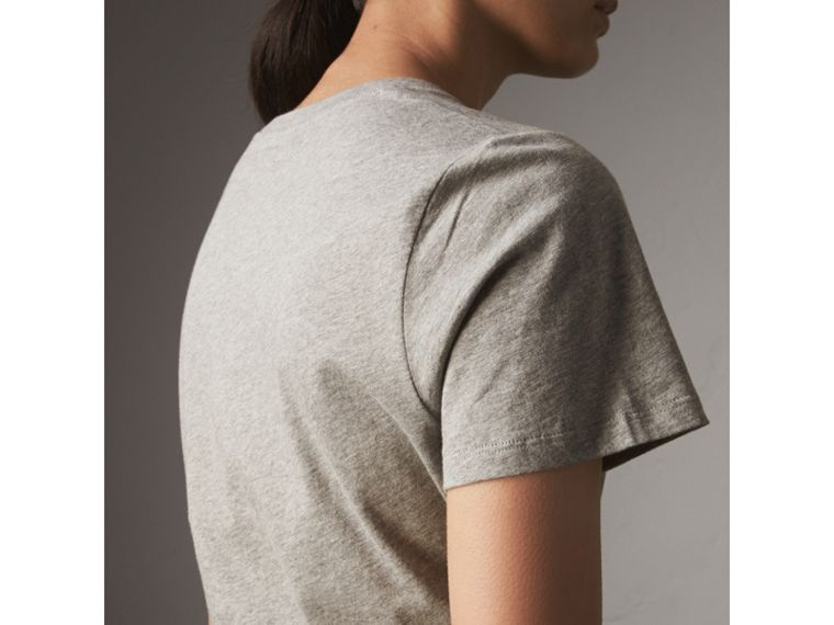 Printed Cotton T-shirt in Pale Grey Melange - Women | Burberry - cell image 1