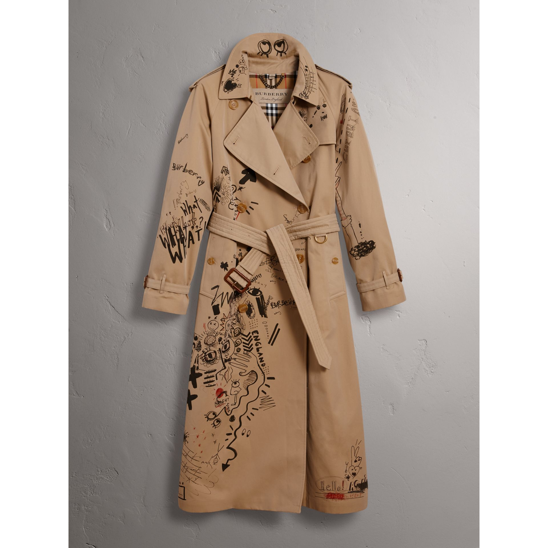 Sketch Print Cotton Gabardine Trench Coat in Honey - Women | Burberry - gallery image 3